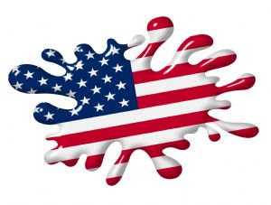 3D Shaded Effect SPLAT Design With American Stars & Stripes US Flag Motif External Vinyl Car Sticker 100x150mm